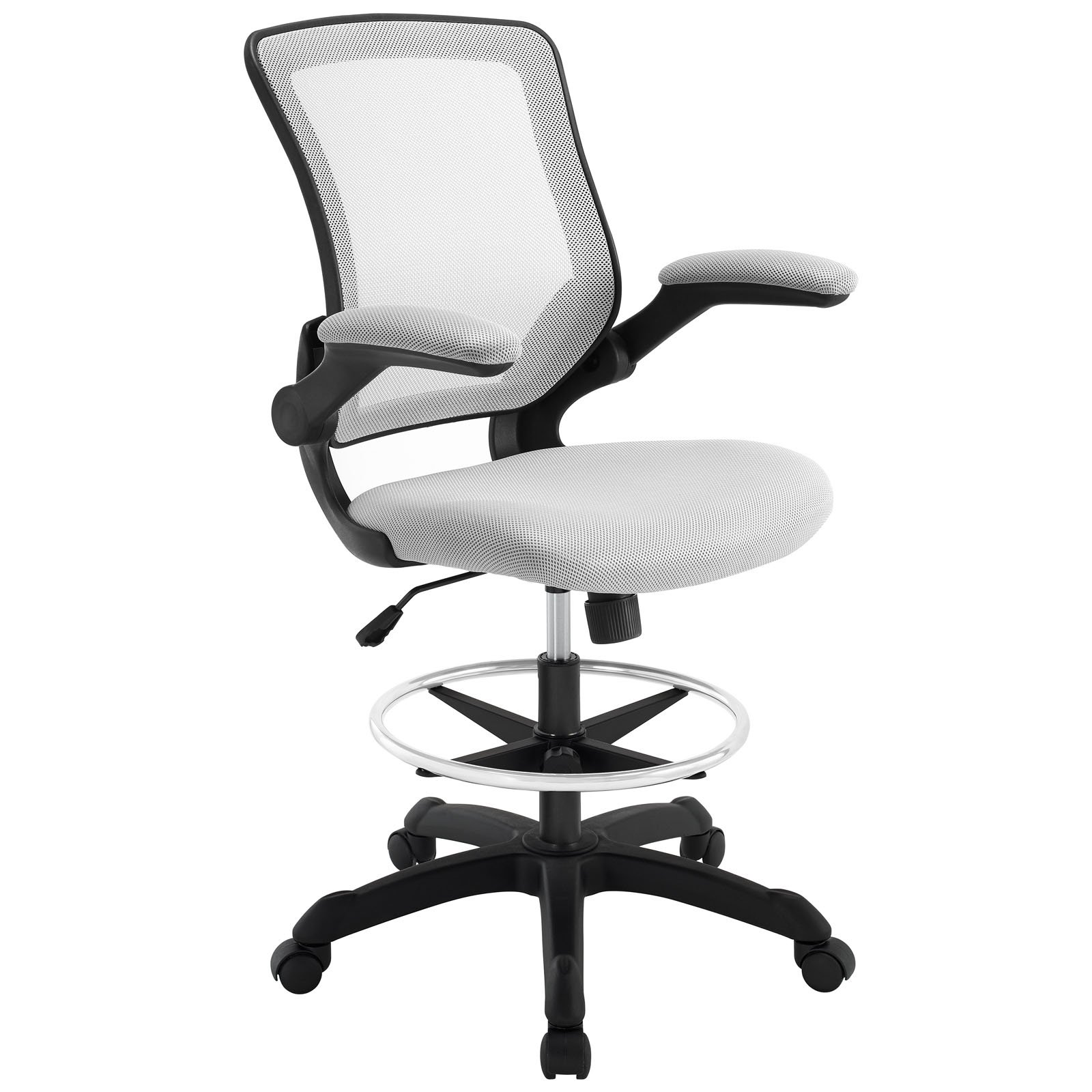 Get Quotations · Modway Veer Drafting Stool In Gray   Reception Desk Chair    Tall Office Chair For Adjustable