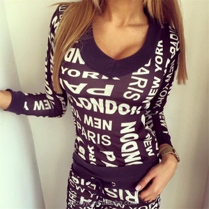 2018 Autumn and winter new European and American foreign trade letters V-neck sweater sports and leisure suit female