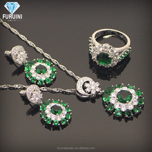 듐 plated 오스트리아 green crystal jewelry set includes 링 earring 및 늘어진