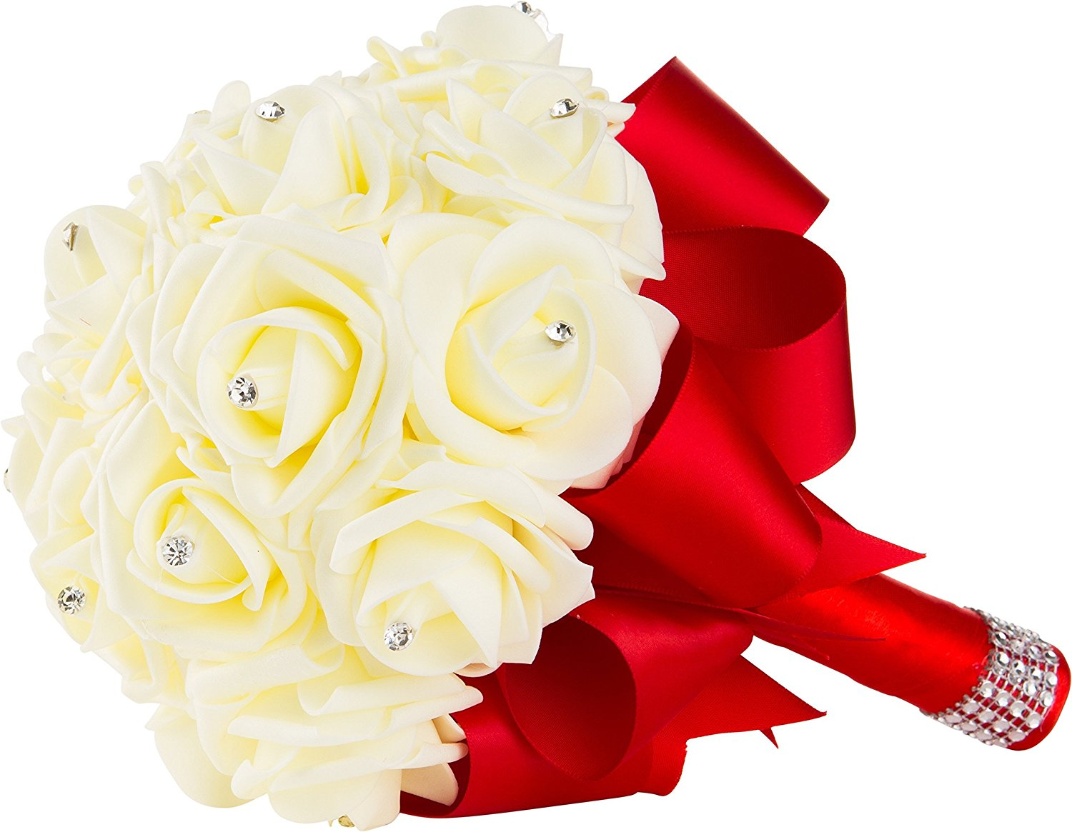 Cheap ribbon flowers bouquet find ribbon flowers bouquet deals on handmade wedding bouquet with ivory flowers and red ribbon and handle by worldofweddings artificial ivory izmirmasajfo