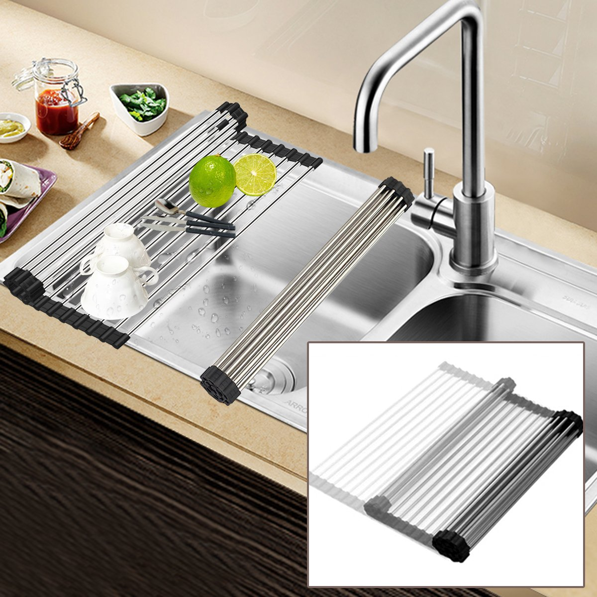 Get Quotations · Foldable Roll Up Dish Drying Rack, Multi Purpose Heat  Resistant Stainless Steel Over