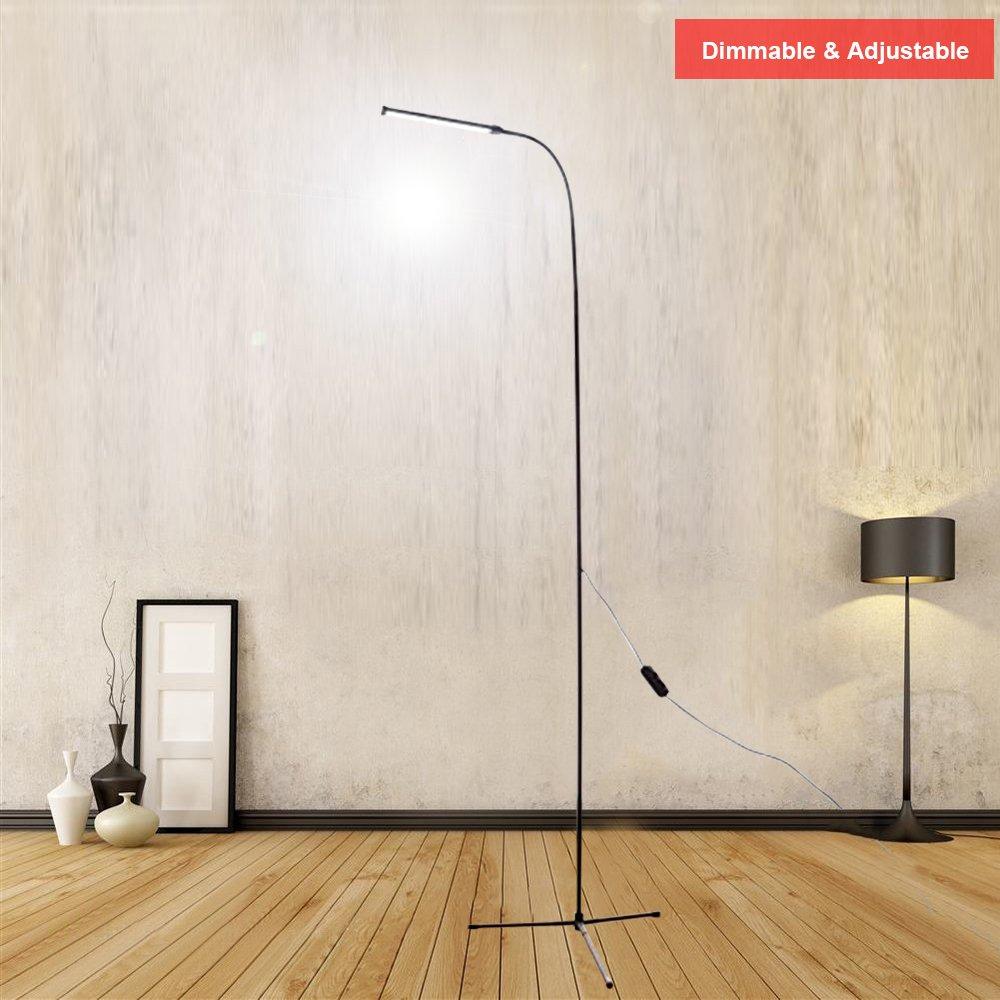 LexonElec Floor Standing Lamp, USB 8W 800 Lumens Brightness 3500K Warm Light & 6000K Cool White Light LED Reading Light for Living Room Bedroom with 1.5m Length USB Line (Black, Simple Style)