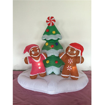 lawn ornament led lighting two gingerbread man a adornment christmas tree decoration home