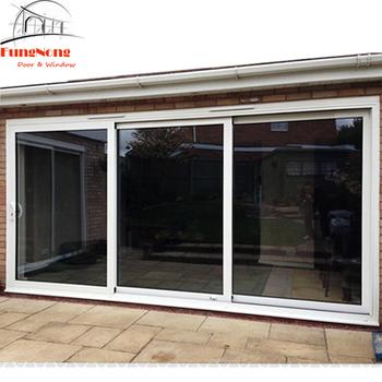 3 Panel Double Sliding Big Glazing Glass Aluminium Balcony Entry Door