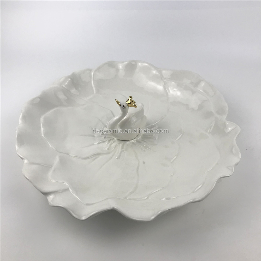 swan shape decorative pink white ceramic fruit plate tray