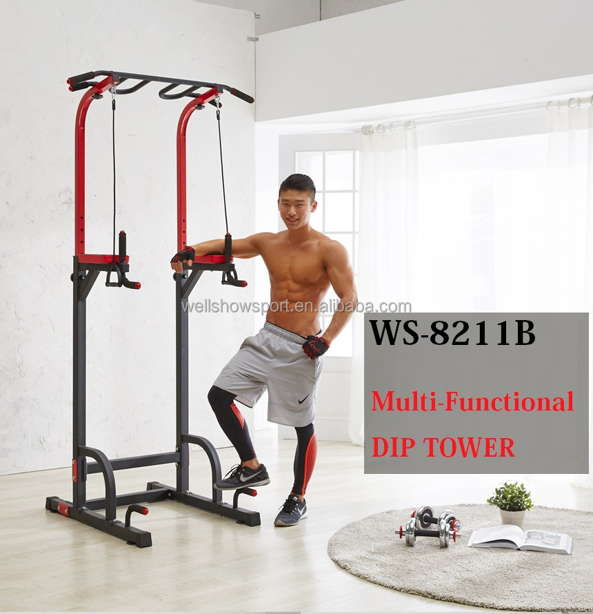 Wellshow Sport Adjustable Height Power Tower with Dip Station, Pull Up Bar Standing Tower Gym Equipment Sports Pull Up Tower