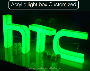 Customised Acrylic light box advertising letter word mounted on wall