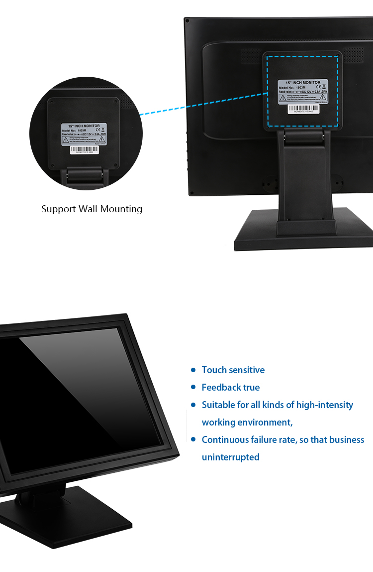 OEM Table Portable Cheap 15 inch Flat POS LCD USB Powered 1503M Resistive Touch Screen Monitor