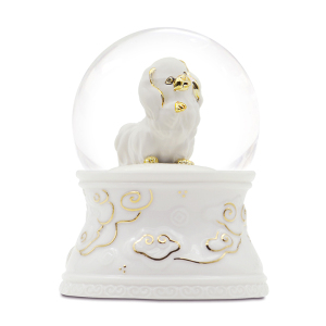 High Quality White Dog Snow Globe with Music and blowing snow
