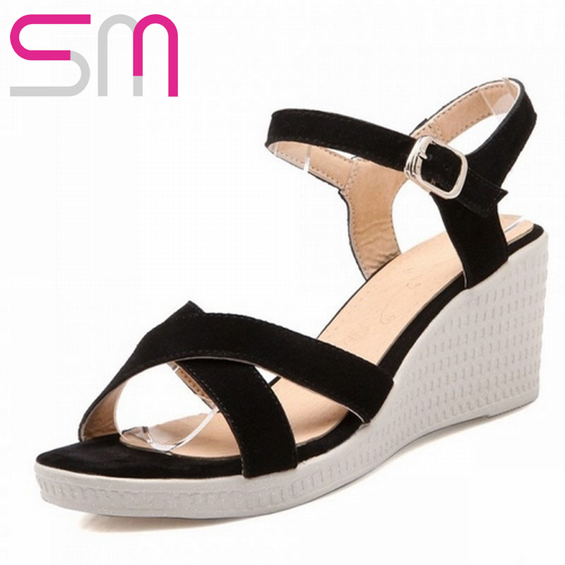 8f32f4e061c Buy Brand New 2016 Wedge Sandals For Women Buckle Strap Gladiator Summer  High Heel Sandals Medium Increased Heels Slides Flip Flops in Cheap Price  on ...