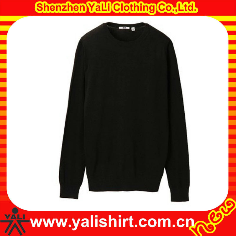 Custom latest design high quality black knit o-neck cotton/polyester casual plus sizesweater for old women