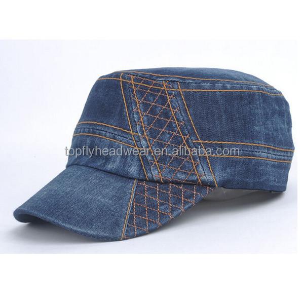Wholesale custom blank jeans fashion hot sale military cap blue jean caps  hats cheap military cap 5923ec7a993