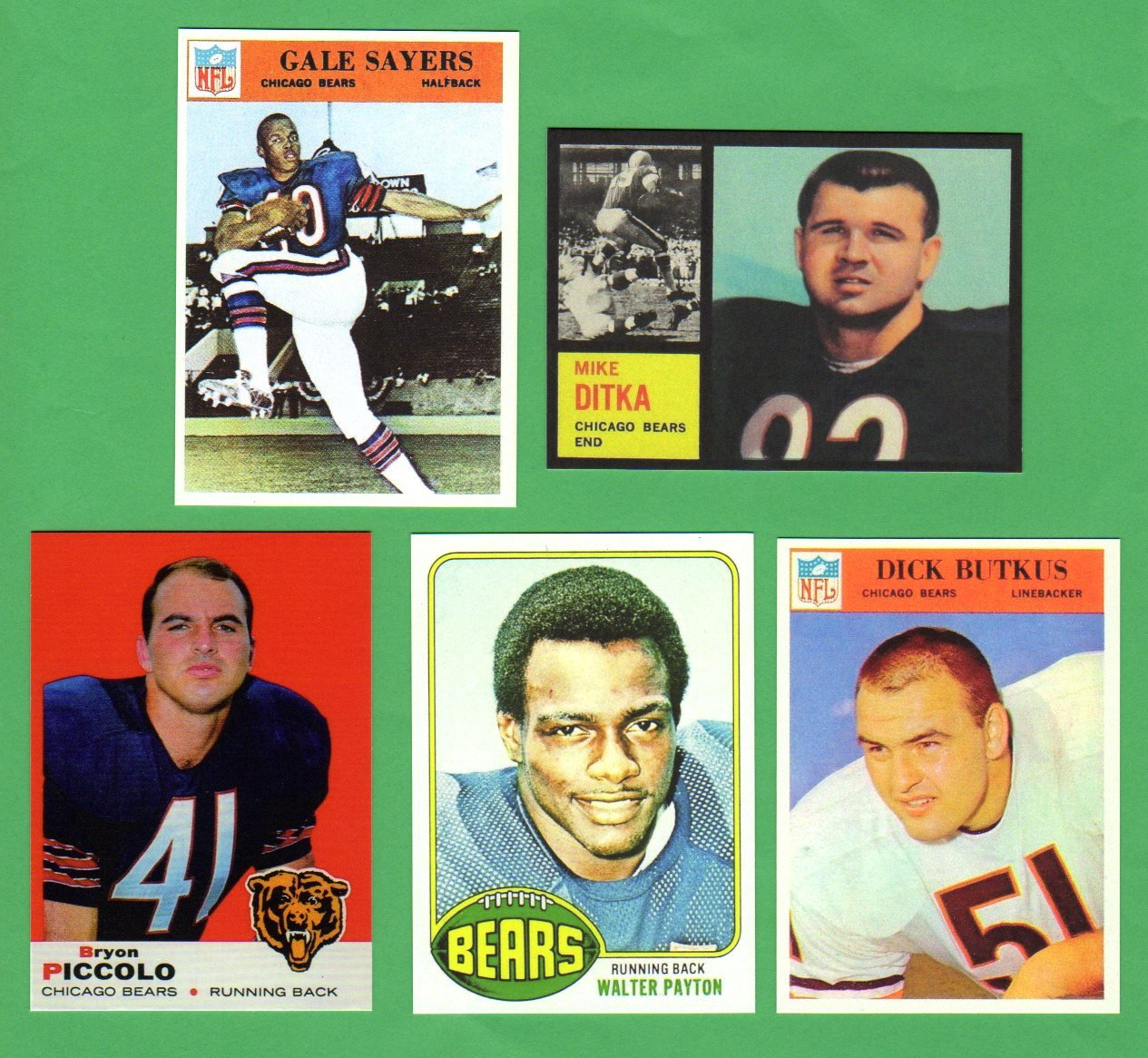 Buy Chicago Bears 5 Card Football Rookie Reprint Lot Mike