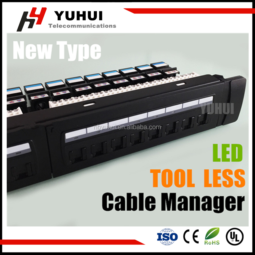24 port cat6 cat5e LED Patch Panel