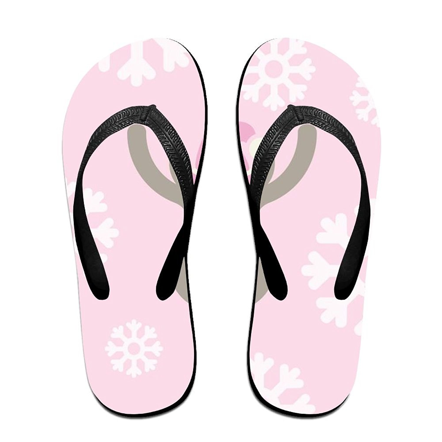 Couple Flip Flops Merry Christmas Puppy Print Chic Sandals Slipper Rubber Non-Slip House Thong Slippers