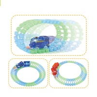 Create a road flexible track car glow in dark track set with train