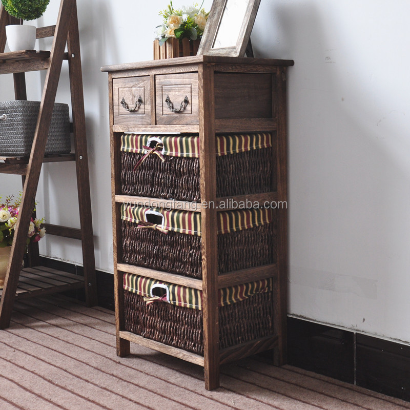 New Design Vintage Shabby Chic Cabinet Chest Of Drawers Brown Bedside Table for Home storage /hospital bedside tables