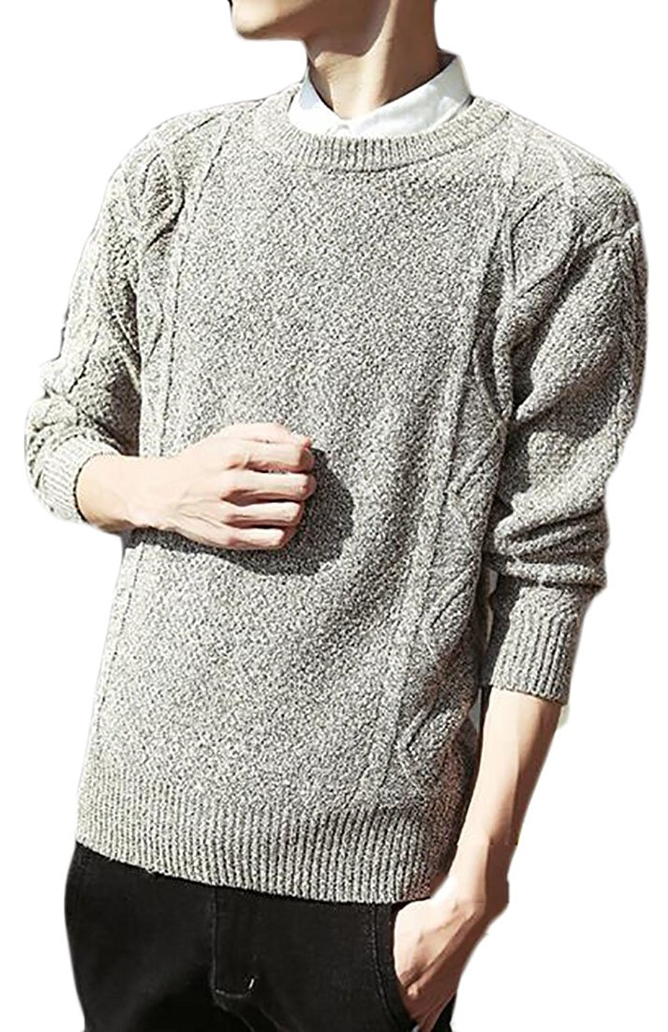 af60f0d30ed Get Quotations · XQS Mens Crewneck Cable Knit Shawl Collar Pullover Sweater  Creamy White