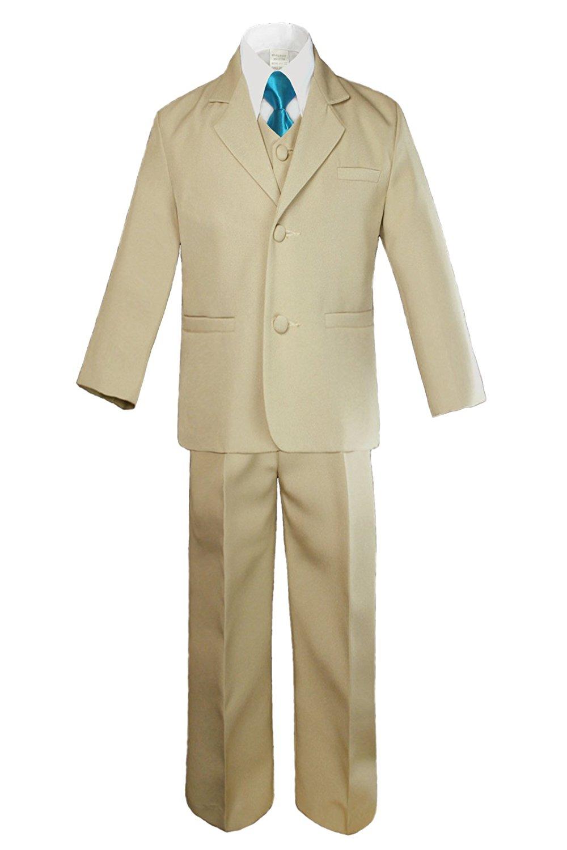 Leadertux 3pc Formal Baby Toddler Boys Gold Necktie White Pants Suits Sets S-7 XL: 18-24 months