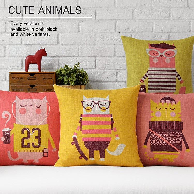 Free Shipping Linen Throw Pillow Hot Sale New Fashion Wedding Decor 45cm Lovely Pink Yellow Cat Home Office Sofa Car Cushion