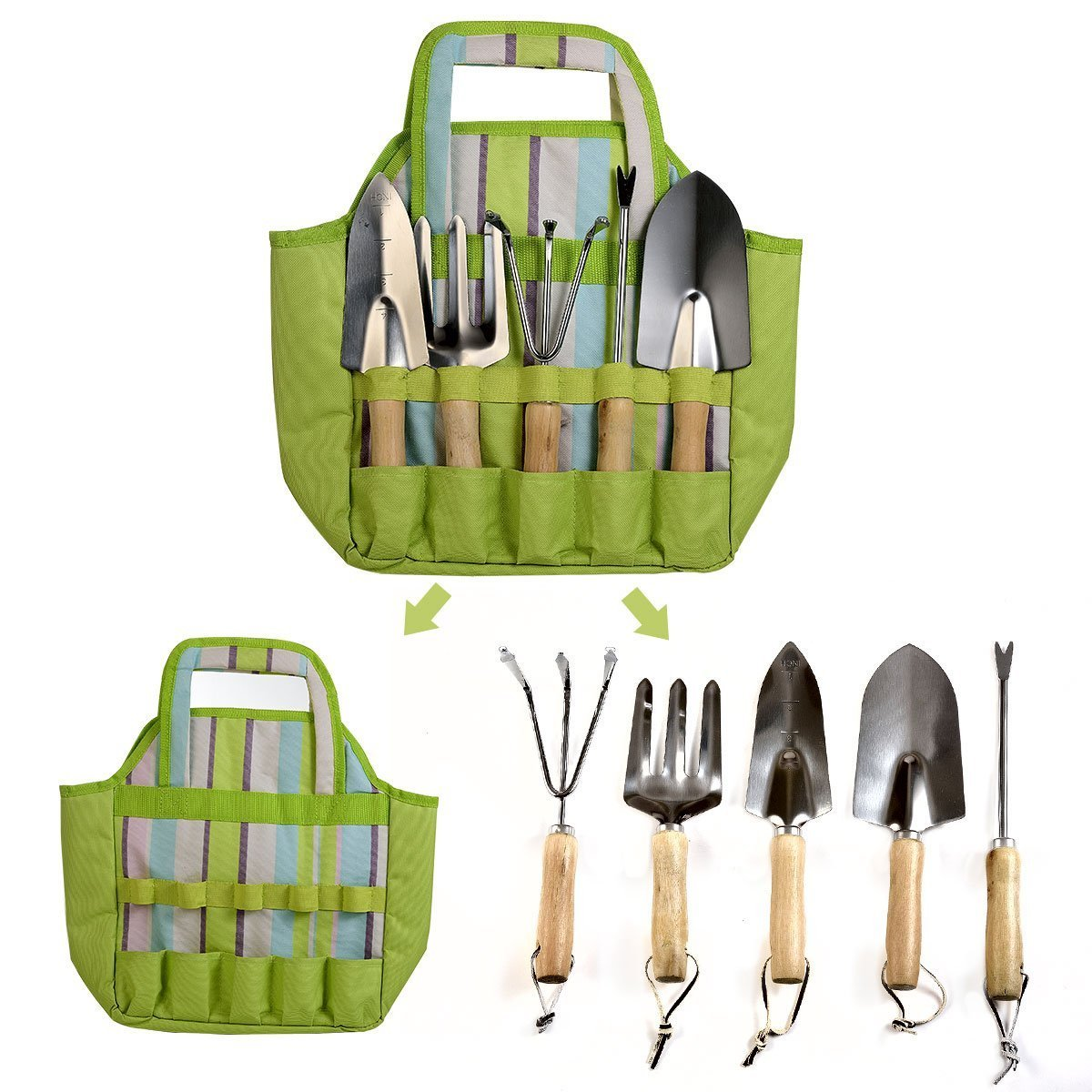 Garden Tools Set 7 Piece with Tote Bag Including Weeder, Rake, Trowel, Transplanter, Cultivator, Garden Tote Bag and Gloves Heavy Duty Cast-aluminum with Ergonomic Wood Handles (Light Green)