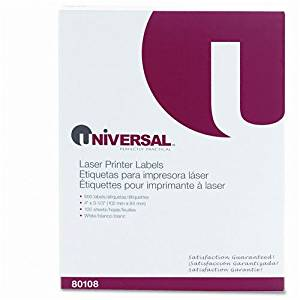 Universal : Laser Printer Permanent Labels, 3-1/3 x 4, White, 600 per Box -:- Sold as 2 Packs of - 600 - / - Total of 1200 Each