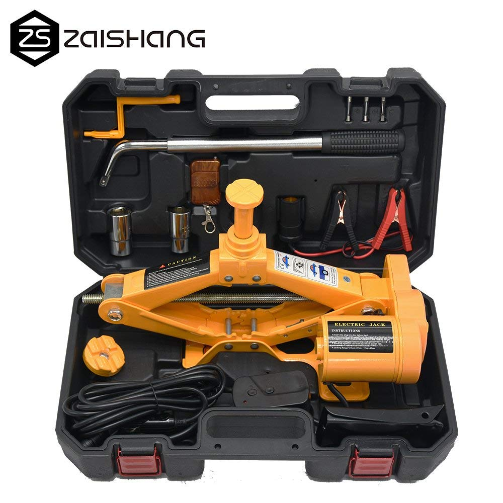 ZS 12V DC 2.5T(5500lb) Fully Auto Electric Car Jack with Wheel Nut Wrench and Wireless Remote Repair Tools Kit,Double Saddles for SUV