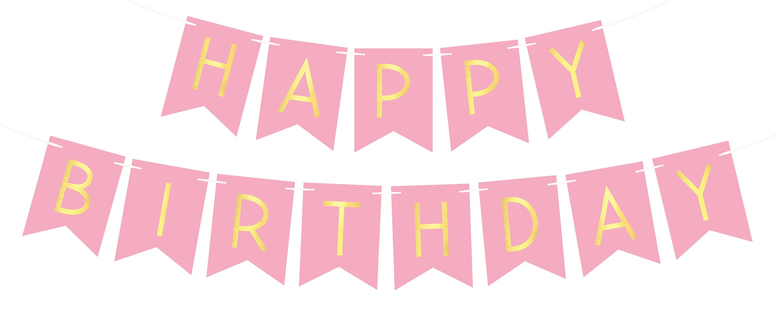 Pink Happy Birthday Bunting Banner With Shimmering Gold Letters
