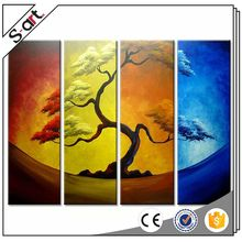 Well-known colorful abstract tree 4 panel oil painting
