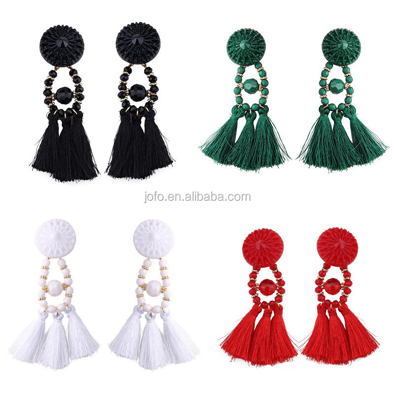 2017 Hot Sell NEW Women Fashion Long Tassel Dangle Earrings Silk Thread Earrings