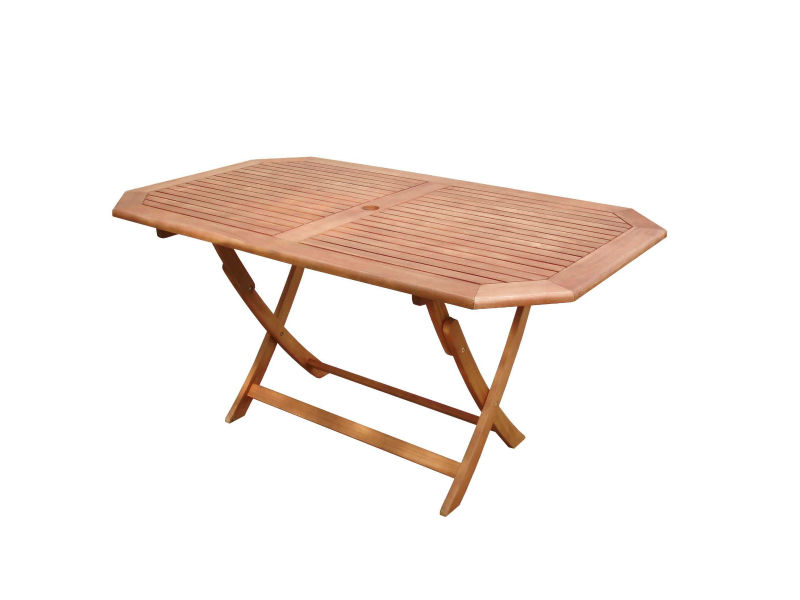 Octagonal folding wooden table