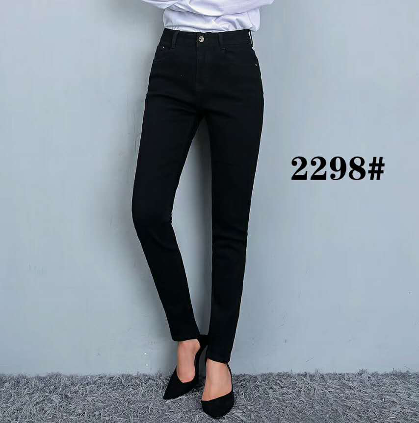 2017 New Style Fashion Latest Jeans Tops Girls Black Slim Women's Jeans Pants Wholesale Price #2298