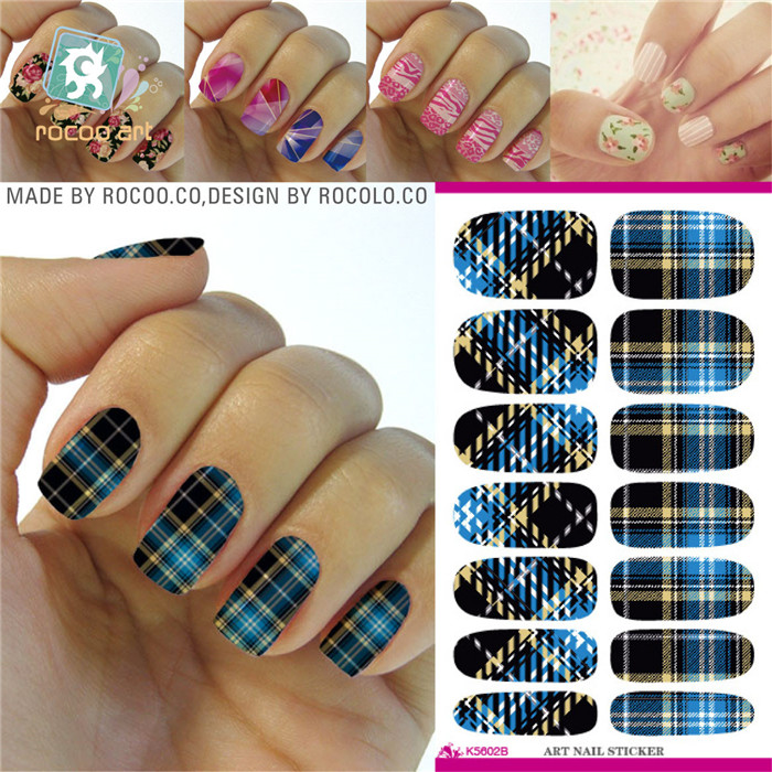 K5602 Water Transfer Nail Art Sticker Blue Plaid Design Manicure Styling Tools Nail Wraps Full Cover