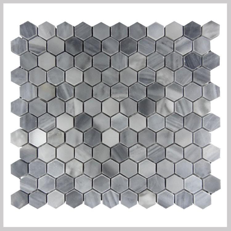 Italia hex gono gris m rmol piso mosaico azulejos para for Suelo marmol gris