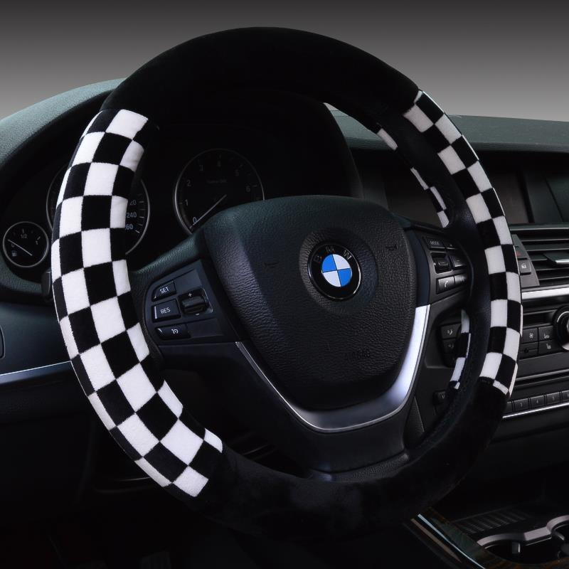 Winter Fur Plaid Sports Steering Wheel Cover Racing For 95 Car Styling 38cm Omp Accessories Factory