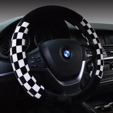 Winter Fur Plaid Sports Steering Wheel Cover Racing For 95% Car Styling,38cm Omp Accessories Factory Direct Supply Free Shipping