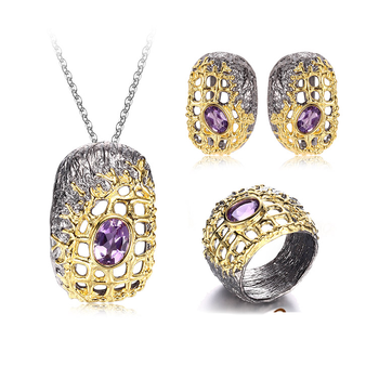 Handmade Special Amethyst 925 Sterling Silver Jewelry Set For Lady