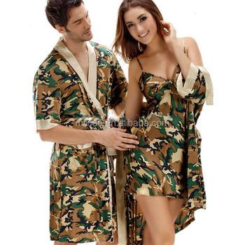 Herren Satin Robe Sommer Kimono Bademäntel Armee Camo Druck ...