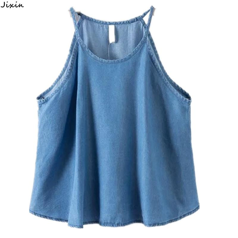 2015 summer style women's light blue sleek silk texture denim tops tees sexy halter crop top