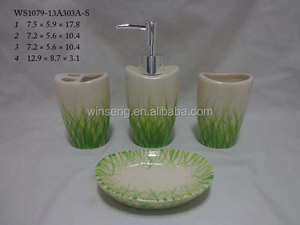 Ceramic Spring Decal design bathroom Accessory sets