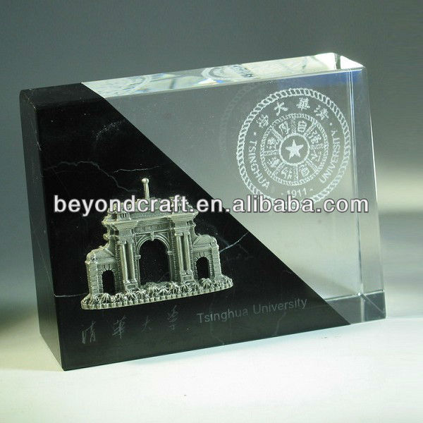 white and black crystal paperweight,crystal cube model