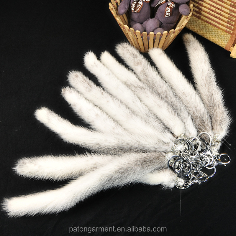 Wholesale fashion real mink fur tail keychain purse charm
