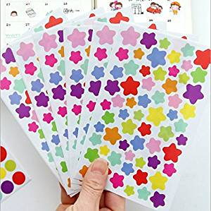 VNDEFUL 6PCS Cartoon Beautiful Five-Pointed Star Stickers,Waterproof Adhesive Transparent Children Stickers,Color DIY Decorative Stickers Baking Decorative Stickers.