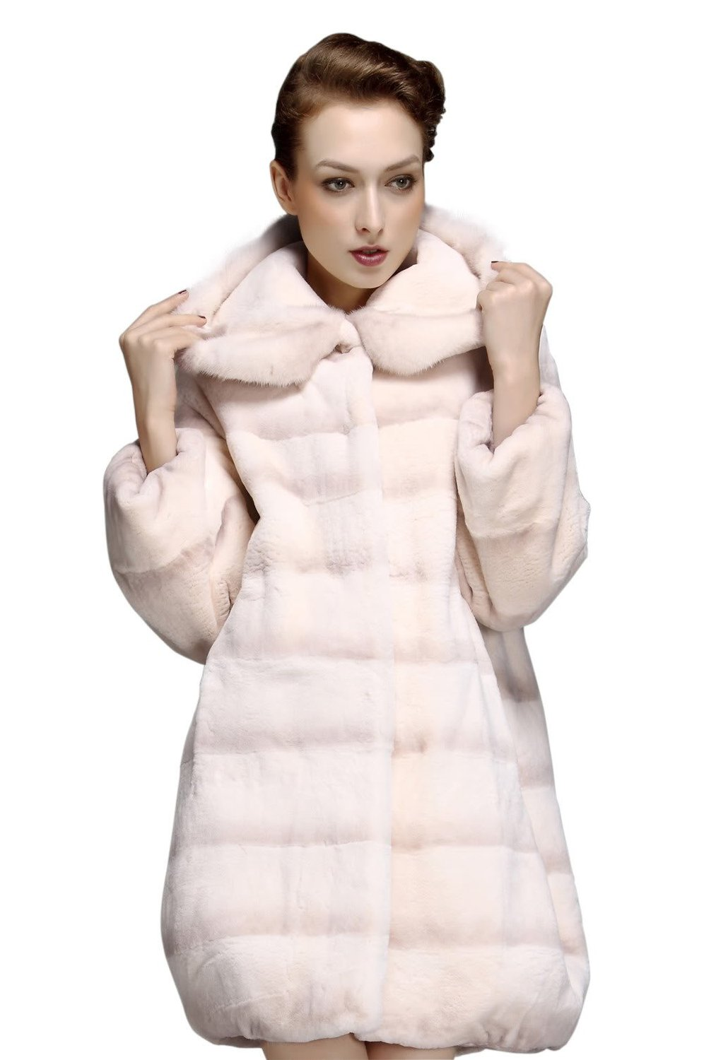 Qiudu Women's Real Rex Rabbit Fur Coat with Mink Fur Trim Hooded