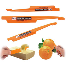 New travel consumer disposable cheap daily use print logo smart cute portable plastic apple skin fruit manual peeler with hook