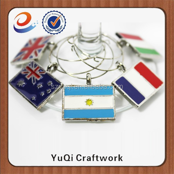 Trade Assurance national flag metal wine charms with custom