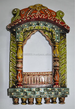 Traditional Indian Painted Home Decor Wooden Handmade Carved Jharoka