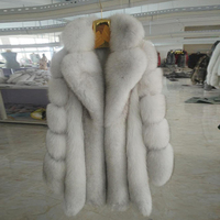 Women winter overcoat whole skin real fox fur long natural fox fur coat