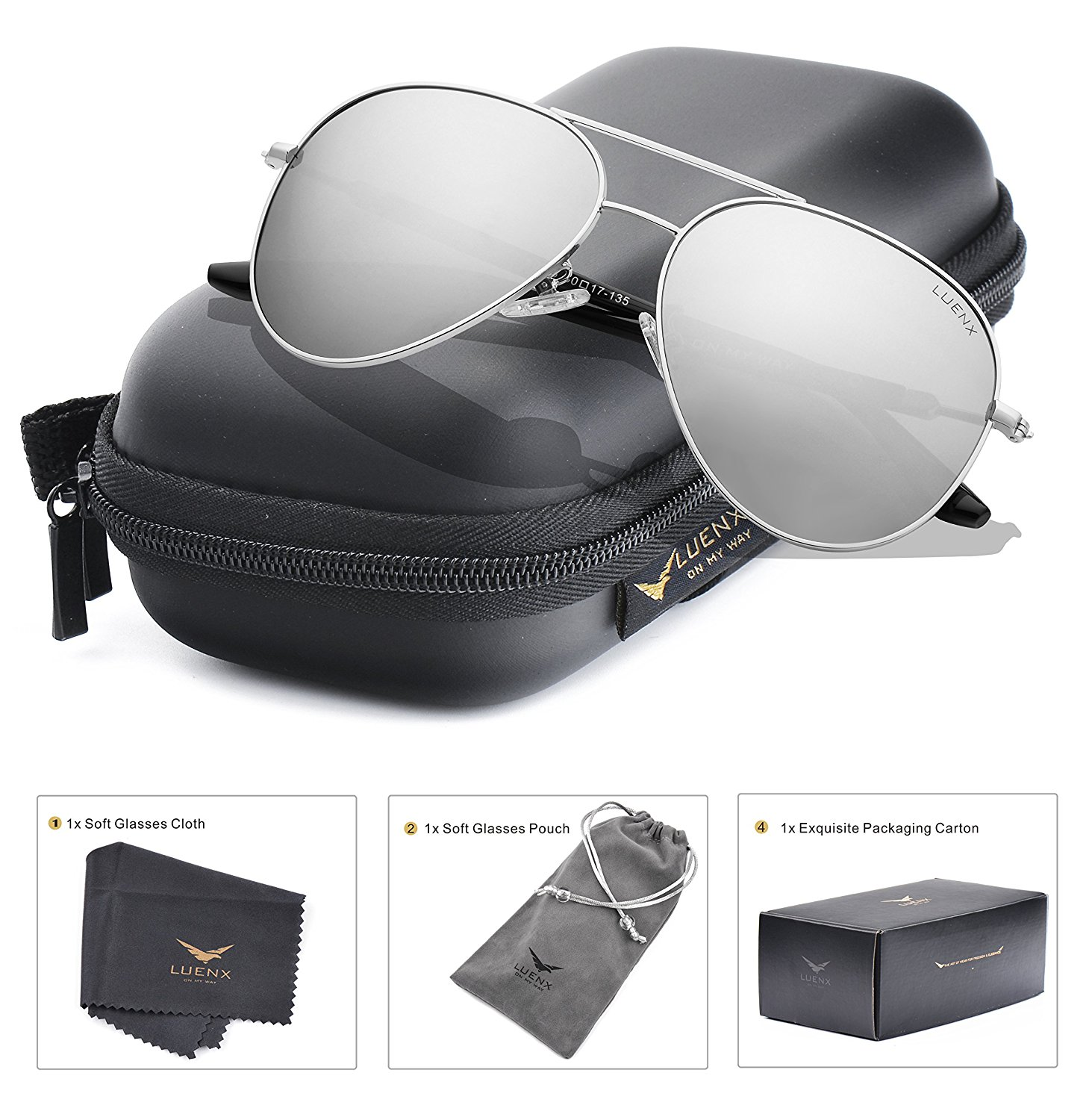fc3958b841d LUENX Aviator Sunglasses Mens Womens Polarized Mirror - UV 400 Protection  60mm