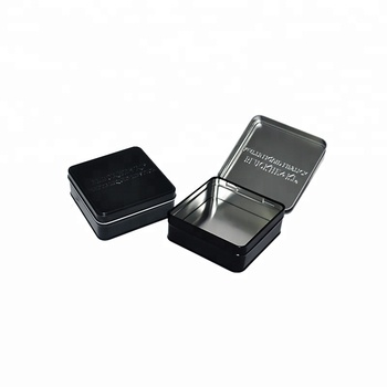 Black square mini custom small tin box with hinged lid